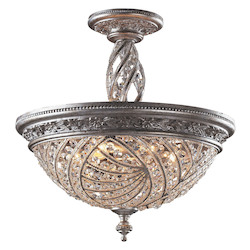 ELK Lighting Six Light Sunset Silver Bowl Semi-Flush Mount