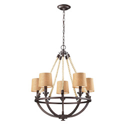 ELK Lighting Five Light Aged Bronze Drum Shade Chandelier