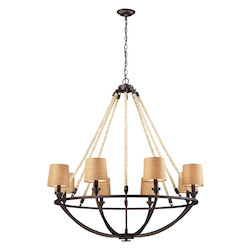 ELK Lighting Six Light Aged Bronze Drum Shade Chandelier