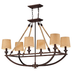 ELK Lighting Six Light Aged Bronze Drum Shade Island Light