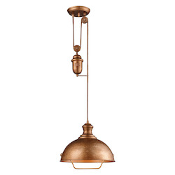 ELK Lighting One Light Bellwether Copper Down Pendant