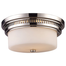 ELK Lighting Two Light Polished Nickel Drum Shade Flush Mount