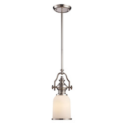 ELK Lighting One Light Polished Nickel Down Mini Pendant