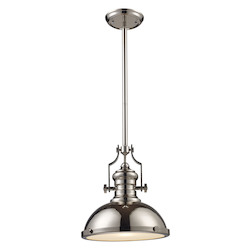 ELK Lighting One Light Polished Nickel Down Pendant