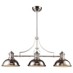 ELK Lighting Three Light Polished Nickel Pool Table Light