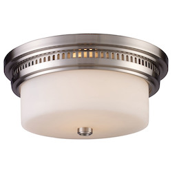 ELK Lighting Two Light Satin Nickel Drum Shade Flush Mount