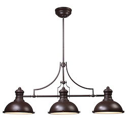 ELK Lighting Three Light Oiled Bronze Pool Table Light