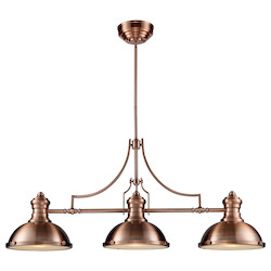 ELK Lighting Three Light Antique Copper Pool Table Light