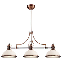 ELK Lighting Three Light Antique Copper Island Light