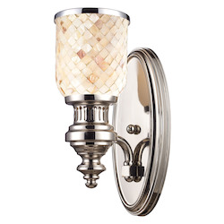 ELK Lighting One Light Polished Nickel Cappa Shell Shade Wall Light