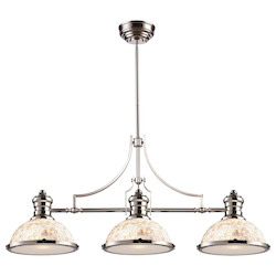 ELK Lighting Three Light Polished Nickel Cappa Shell Shade Island Light