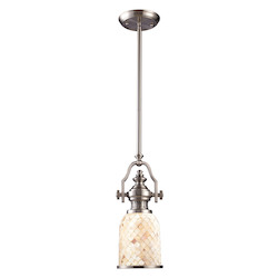 ELK Lighting One Light Satin Nickel Cappa Shell Shade Down Mini Pendant