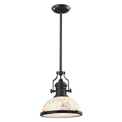 ELK Lighting One Light Oiled Bronze Cappa Shell Shade Down Pendant