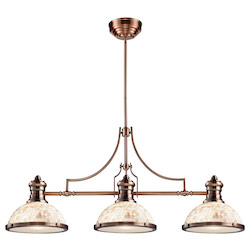 ELK Lighting Three Light Antique Copper Cappa Shell Shade Island Light