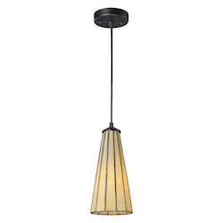 ELK Lighting One Light Hazy Beige/Matte Black Down Mini Pendant