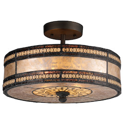 ELK Lighting Two Light Tiffany Bronze Drum Shade Semi-Flush Mount