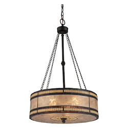 ELK Lighting Three Light Tiffany Bronze Drum Shade Pendant