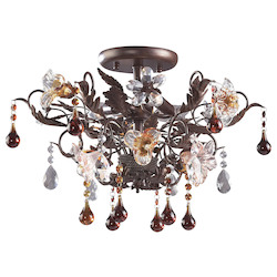 ELK Lighting Three Light Deep Rust Bowl Semi-Flush Mount