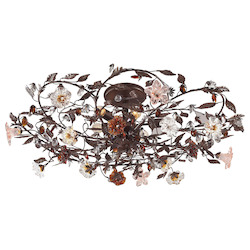 ELK Lighting Six Light Deep Rust Bowl Semi-Flush Mount