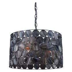 ELK Lighting Three Light Matte Black Drum Shade Pendant