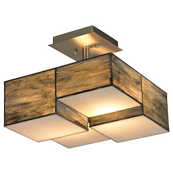 ELK Lighting Cubist Collection 2 Light Semi Flush In Brushed Nickel
