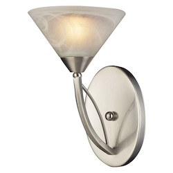 ELK Lighting One Light Satin Nickel Marbelized White Glass Bathroom Sconce