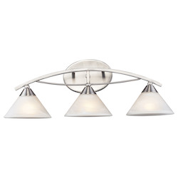 ELK Lighting Three Light Satin Nickel Marbelized White Glass Vanity