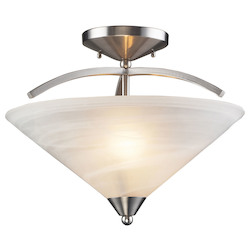 ELK Lighting Two Light Satin Nickel Marbelized White Glass Bowl Semi-Flush Mount