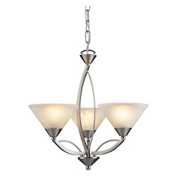 ELK Lighting Three Light Satin Nickel Marbelized White Glass Up Chandelier