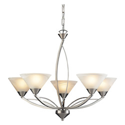 ELK Lighting Five Light Satin Nickel Marbelized White Glass Up Chandelier