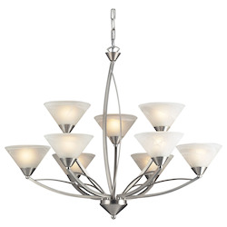 ELK Lighting Nine Light Satin Nickel Marbelized White Glass Up Chandelier