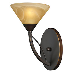 ELK Lighting One Light Aged Bronze Tea Swirl Glass Bathroom Sconce