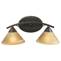 ELK Lighting Two Light Aged Bronze Tea Swirl Glass Vanity