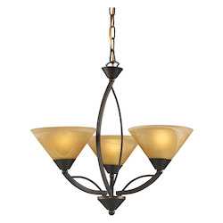 ELK Lighting Three Light Aged Bronze Tea Swirl Glass Up Chandelier