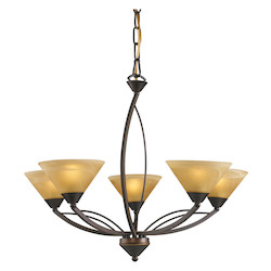 ELK Lighting Five Light Aged Bronze Tea Swirl Glass Up Chandelier