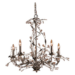 ELK Lighting Five Light Deep Rust Up Chandelier
