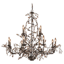 ELK Lighting Twelve Light Deep Rust Up Chandelier