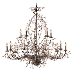 ELK Lighting Fifteen Light Deep Rust Up Chandelier