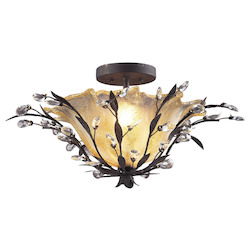 ELK Lighting Two Light Deep Rust Bowl Semi-Flush Mount