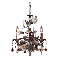 ELK Lighting Three Light Deep Rust Up Chandelier