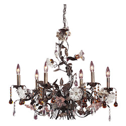 ELK Lighting Six Light Deep Rust Up Chandelier