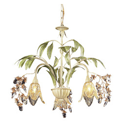 ELK Lighting Three Light Seashell Amber Glass Down Chandelier