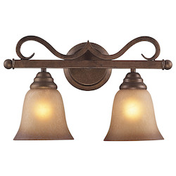 ELK Lighting Two Light Mocha Antique Amber Glass Vanity