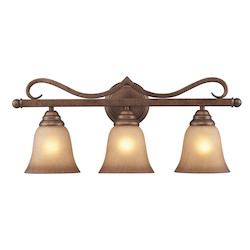 ELK Lighting Three Light Mocha Antique Amber Glass Vanity