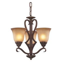 ELK Lighting Three Light Mocha Antique Amber Glass Up Chandelier