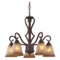 ELK Lighting Five Light Mocha Antique Amber Glass Down Chandelier