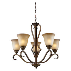 ELK Lighting Five Light Mocha Antique Amber Glass Up Chandelier