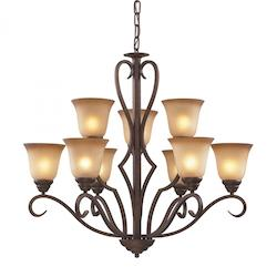 ELK Lighting Nine Light Mocha Antique Amber Glass Up Chandelier