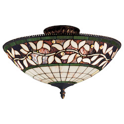 ELK Lighting Three Light Tiffany Bronze Bowl Semi-Flush Mount
