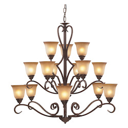 ELK Lighting Fifteen Light Mocha Antique Amber Glass Up Chandelier